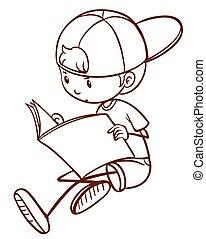 jongen lees, jonge