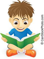 jongen lees, jonge, vrolijke