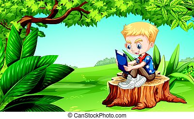 jongen lees, park