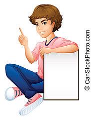 jongen, lege, whiteboard