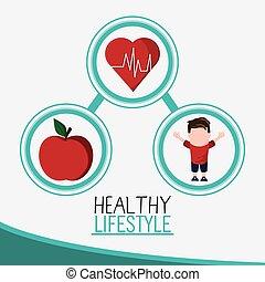 jongen, levensstijl, appel, hart, gezonde , ontwerp