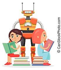 jongen, lezen, groot, robot, illustratie, meisje