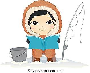 jongen, lezen, illustratie, boek, visserij, eskimo, geitje