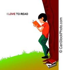 jongen, liefde, illustration., jonge, boek, lezende , spotprent