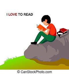 jongen, liefde, illustration., jonge, book., lezende , spotprent