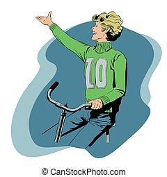 jongen, liggen, illustration., bike., paardrijden