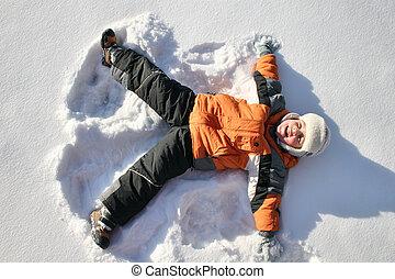 jongen, ligt, op, noordpool, sneeuw