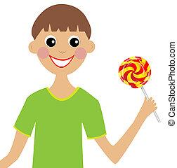 jongen, lollipop, vrolijk, hand
