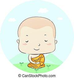 jongen, lotus, monnik, positie, meditatie, geitje
