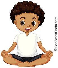 jongen, meditatie, jonge