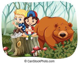 jongen, meisje, beer, zittende