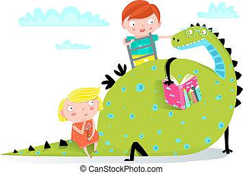 jongen, meisje, boek, lezende , draak