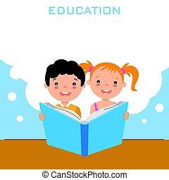 jongen, meisje, boek, lezende