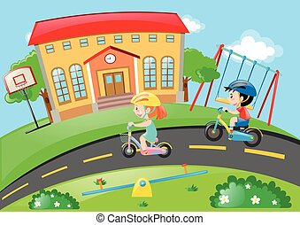 jongen, meisje, cycling, straat