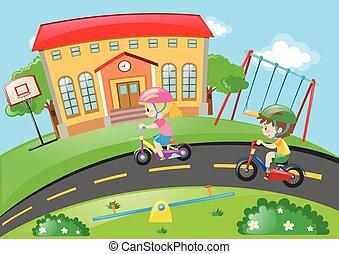 jongen, meisje, fiets, park, paardrijden