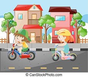 jongen, meisje, fiets, straat, paardrijden