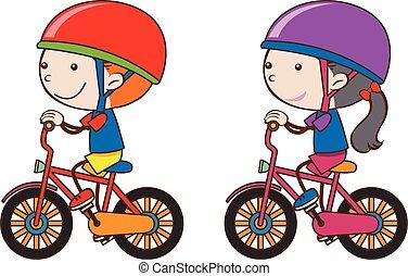 jongen, meisje, fiets te rijden