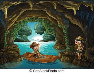 jongen, meisje, grot
