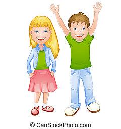 jongen, meisje, illustratie