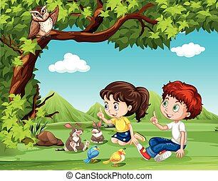 jongen, meisje, onder, boompje, zittende