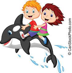 jongen, meisje, orca, spotprent, paardrijden