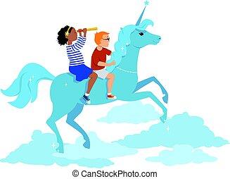 jongen, meisje, paardrijden, eenhoorn