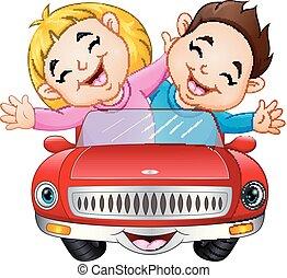 jongen, meisje, paardrijden, spotprent, auto