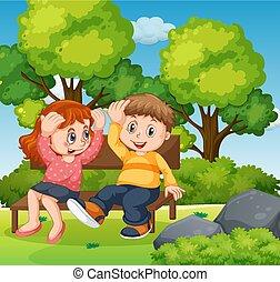 jongen, meisje, park, samen, zittende