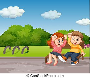 jongen, meisje, park, zittende