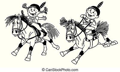 jongen, meisje, pony's, paardrijden