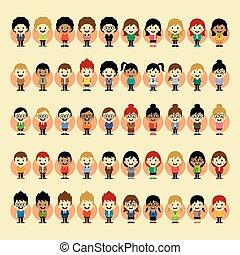 jongen, meisje, set, karakter, spotprent