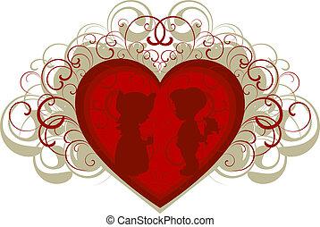 jongen, meisje, silhouette, achtergrond, hart