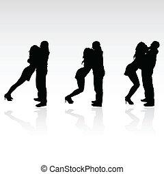 jongen, meisje, silhouette, kus