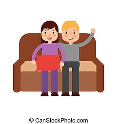 jongen, meisje, sofa, zittende