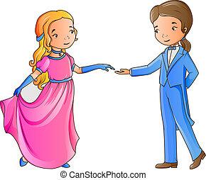 jongen, meisje, spotprent, dancing