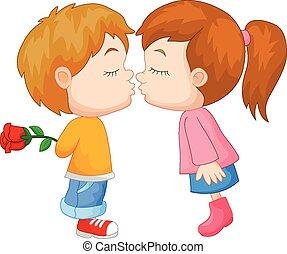 jongen, meisje, spotprent, kussende