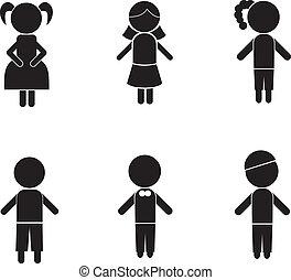 jongen, meisje, stok, silhouettes