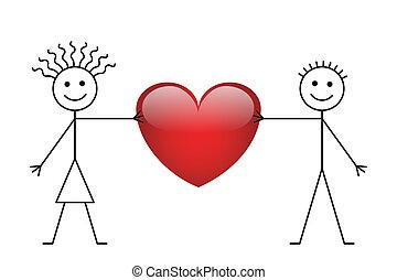 jongen, meisje, stok, valentijn