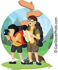 jongen, meisje, vakantie, backpacker, &