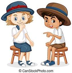 jongen, meisje, zittende , stoelen