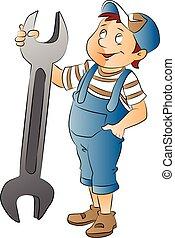 jongen, met, een, grote moersleutel, illustratie