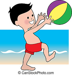 jongen, met, een, strand, bal