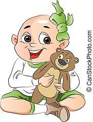 jongen, met, een, teddy beer, illustratie