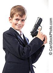 jongen, met, een, wapen