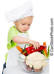 jongen, met, groentes
