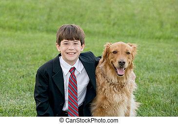 jongen, met, zijn, dog