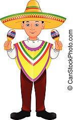 jongen, mexicaanse , maracas