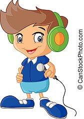 jongen, microfoon, spotprent, vasthouden