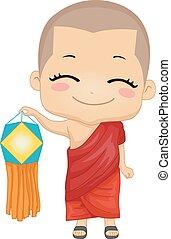 jongen, monnik, illustratie, vesak, lantaarntje, geitje