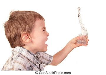jongen, morserijen, water, van, glas